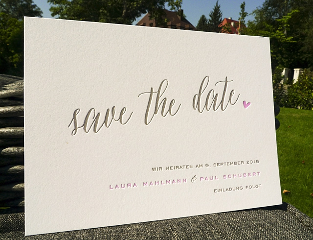 impressiona Letterpress Hochzeitskarten scriptura Save the Date
